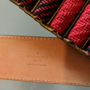 Louis Vuitton Belt Wool Plaid and brown leather